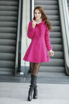 Slim Pure Color Falbala Puff Sleeve Wool Trench Coat for Women