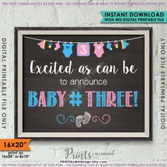 70 Ideas Baby Announcement Child For 2019 3rd Pregnancy Announcement, Third Baby Announcements, It's A Boy Announcement, Baby Announcement Pictures, Third Pregnancy, Pregnancy Pics, Baby Number 3, Baby Shower Food For Girl, Baby Girl Nursery Themes