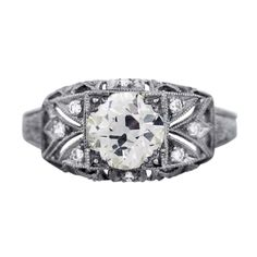 Art Deco Style 1.07 Carat Diamond Platinum Engagement Ring, vintage engagement rings