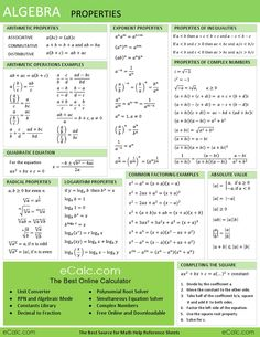 This algebra sheet is used to help with homework. This sheet shows the basic problems and equations used in algebra. Algebra Help, Maths Algebra, Math Help, Gre Math, Algebra Equations, Math Fractions, Maths Fun, Algebra Activities, Solving Equations