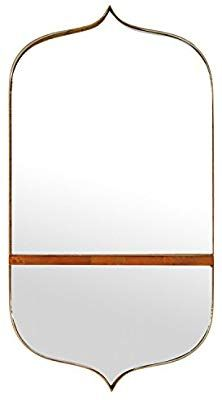 Rivet Modern Curved Iron Mirror with Wood Shelf, Gold Finish Wall Mirror With Shelf, Wall Mounted Mirror, Mid Century Modern Mirror, Kids Bath, Wall Spaces, Wood Shelves, My Dream Home, Home Kitchens, Decorative Items