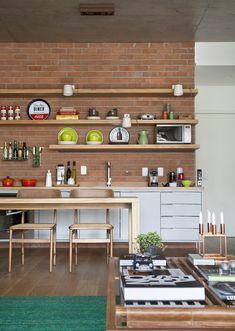 40 Fresh Kitchen Designs with Brick Walls Ideas Open Kitchen, Kitchen Dining, Kitchen Decor, Kitchen Brick, Dinner Room, Lunch Room, Dream Decor, Interior Design Kitchen, Kitchen Designs