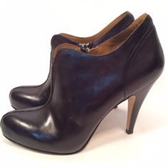 Nine West Black Leather Booties This Nine West Black Leather Bootie goes with everything! Materials: Leather. Size: May Run A Little A Little Big. Height: 4 in & Up. If you have any questions or would like to see more photos please comment below. Nine West Shoes Ankle Boots & Booties