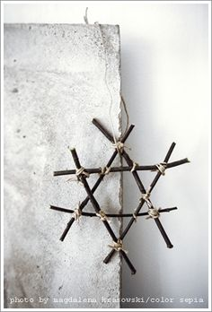 Snow flake, make with twigs and hemp. I wanna add some twinkle lights... and hope that this time, it won't get stolen!