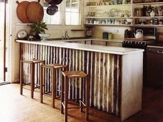 rustic salvaged timber kitchens islands washington | Corrugated Metal DIY - Island Surround by Olive Oyl