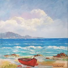 RED BOAT Canvas Board, Cape Town, Impressionism, South Africa, Oil On Canvas, Landscapes, Boat, Red, Painting