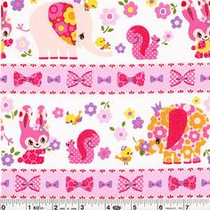 Sure! You can use an elephant as a slide and pick wildflowers if you are one of the cute rabbits, squirrels, elephants or chicks in this adorable print. Touches of glitter add a bit of sparkle to this print!This quilting weight Japanese fabric is 100% cotton and is 43/44