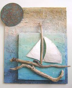 sailboat wall hanging with driftwood Sea Crafts, Seashell Crafts, Diy And Crafts, Arts And Crafts, Driftwood Projects, Driftwood Art, Shell Art, Beach Art, Summer Crafts