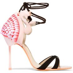 Sophia Webster Flamingo Frill leather, satin and suede sandals