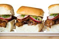 smoky hoisin steak sliders w/ marinated radishes and spicy asian slaw