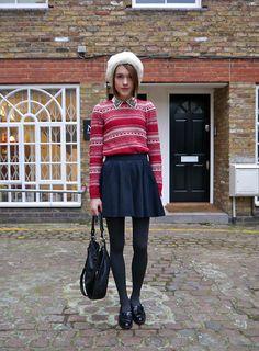 Zara Christmas Jumper, Zara Embellished Collar Shirt, Topshop Skater Skirt, Marc By Marc Jacobs Black Bag, Russel & Bromley Patent Loafers, Vintage Fur Hat