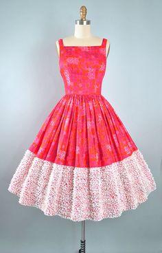 Vestido vintage años 50 / de 1950 algodón Vestido de verano