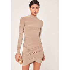 Missguided Nude Slinky High Neck Ruched Bodycon Dress ($43) ❤ liked on Polyvore featuring dresses, taupe, body con dress, nude dress, red body con dress, bodycon dress and taupe dress
