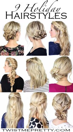 Need some fresh inspiration for all those Christmas parties coming up?  This is the perfect roundup of simple and elegant hairstyles that everyone can do.  Merry Christmas! | Twist Me Pretty