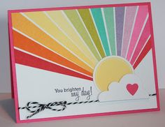 Lovely rainbow card made with a stamp set Pretty Cards, Cute Cards, Diy Cards, Your Cards, Card Making Inspiration, Making Ideas, Rainbow Card, Rainbow Colors, Card Tags