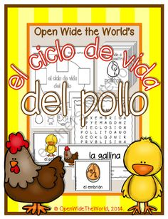 "Spanish Dual Language Life Cycle of a Chicken el ciclo de vida del pollo from Open Wide the World on TeachersNotebook.com -  (30 pages)  - This Spanish ""el ciclo de vida del pollo"" packet introduces young students to the life cycle of a chicken. Designed for Dual Language/Immersion programs, there is no English on student pages!"
