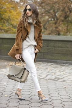 Winter white and camel