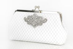 White Bridal Clutch with Rhinestone Geometric Brooch by ANGEEW, $65.00