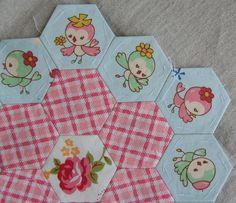 Hexagon quilt in progress by Three Honeybees, via Flickr