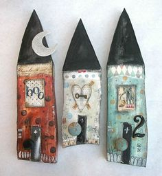 lovely mixed media houses by Lisa Kaus