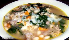 It's starting to feel like soup time. Savory Sausage, White Bean and Kale Soup