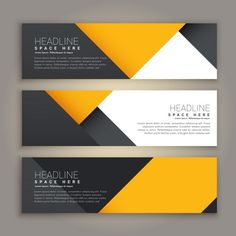 Three yellow and black geometric banners Free Vector Banner Design Inspiration, Best Banner Design, Ad Design, Flyer Design, Logo Design, Firma Email, Typographie Fonts, Style Minimaliste, Banner Template