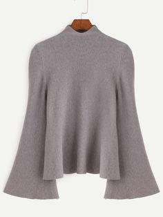 Shop Grey Mock Neck Bell Sleeve Jersey Sweater online. SheIn offers Grey Mock Neck Bell Sleeve Jersey Sweater & more to fit your fashionable needs.