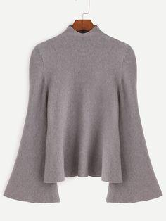 Jersey con cuello mock de manga acampanada - gris-Spanish SheIn(Sheinside)