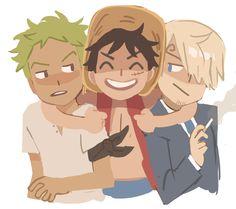 Luffy, Zoro, Sanji ♥