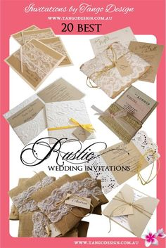 Some of our best Rustic wedding invitations designs, 100% handmade by us and shipping to the world!. We use burlap and lace, rustic or country lace, or beaded lace for an elegant rustic effect. We also love using twine, kraft card and any elements with a romantic and down to earth feel.  #rusticweddings #rusticwedding #rusticweddinginvitations #rusticweddinginvites #rusticinvite #burlapandlaceinvitations #burlapwedding #shabbychicinvitations #shabbychicwedding #romanticwedding