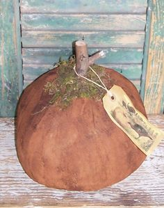 Primitive orange pumpkin with repro postcard tag featuring turkeys & pumpkins! Click pic to buy on Etsy!