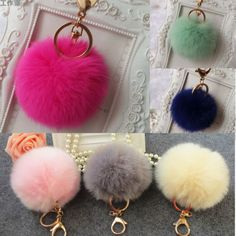 a14c9158f43a Lovely-Genuine-Rabbit-Fur-Ball-Car-Gold-Keychain-