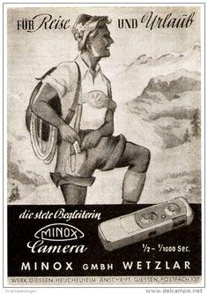 Original-Werbung/ Anzeige 1951 - MINOX CAMERA /WETZLAR - GIESSEN- HEUCHELHEIM - ca. 60 x 90 mm