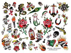 Take Your Shot Fanzine: Old School Tattoo flash, by Dean Denney