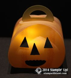 Illuminated Jack-o-Lantern from the Stampin Up Keepsake Boxes. video on blog. #stampinup #halloween #pumpkins