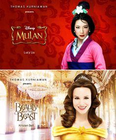 Your Favorite Celebs As Disney Princesses - Lucy Liu as Mulan & Kristen Bell as Belle
