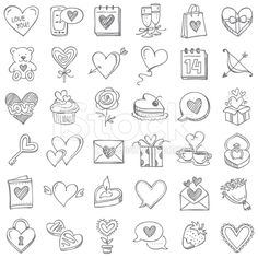 Doodle icon set set for Valentine's Day - Set for Valentine's Day royalty-free stock vector art - Doodle Art Letters, Doodle Lettering, Doodle Drawings, Easy Drawings, Valentines Day Doodles, Valentines Day Drawing, Heart Doodle, Bujo Doodles, Simple Doodles
