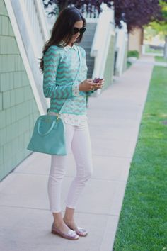 sequin chevrons. Tory Burch handbag in mint. pretty pastels: Soft hues of blue, pink, mint, peach and more delicate sherbet shades are everywhere this Spring season. Pair them with neutrals and whites for a classic feminine look or with metallics for a more trendier vibe.