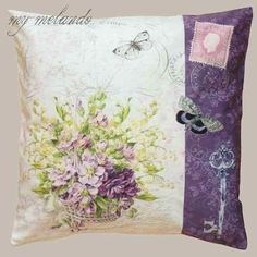 Kissenhülle Patchwork Blumen flieder Druck Kissenbezug Dekokissen Zierkissen