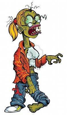 Cartoon zombie woman with glasses  Isolated on white Stock Photo