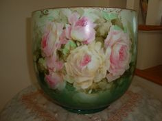 Antique Limoges France Victorian Hand Painted Massive Jardiniere Planter Vase Spectacular Roses 19th Century Artist China Painting
