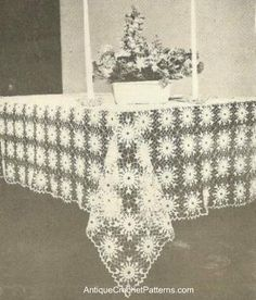 Crystal Tablecloth - Free Crochet Pattern - Lots of free vintage patterns on this site! Crochet Tablecloth Pattern, Crochet Dolls Free Patterns, Knitting Patterns, Crochet Home, Easy Crochet, Free Crochet, Crochet Kitchen, Crochet Things, Crochet Dishcloths