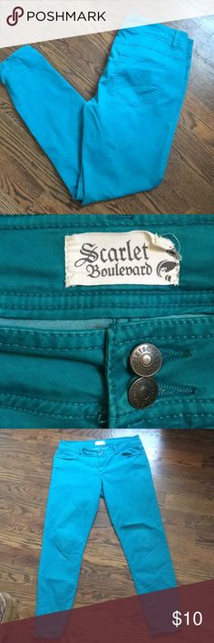 Teal pants Teal pants from a boutique in OKC. Jeans Straight Leg