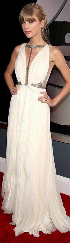 Taylor Swift ---one of my favorite grammy dresses of the night---  Dress – J Mendel    Shoes – Jimmy Choo    Earrings – Lorraine Schwartz    Ring – Ofira    Bracelet – Jaimin