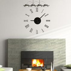 Amazon.com: Add-on Art 15 Wall Decal Clock - Real Clock Movement with Roman Numeral Decals (Black): Home & Kitchen