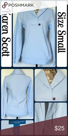 "Sz Sm NWOT Light Blue Karen Scott Sweatshirt NWOT Perfect Condition, very soft, very comfy, hand pockets on each side , 80% Cotton, 20% Polyester | Measurements, flat and not stretched | Chest - 21"" across from underarm to underarm 