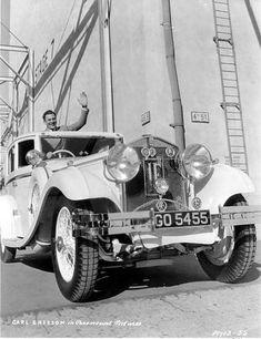 Carl Brisson behind the wheel of his 1934 Isotta Fraschini