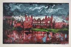 John Piper, Capesthorne (Cheshire, NW England), screenprint on paper, 641 x 1019 mm. Nature Paintings, Landscape Paintings, Landscapes, John Piper Artist, Glasgow School Of Art, Building Art, Famous Artists, Illustration Art, Abstract