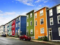 Street with colorful houses in St John s Newfoundland Canada Stock Photo Newfoundland Canada, Newfoundland And Labrador, Disney Magic, Terra Nova, Road Trip, Longyearbyen, Canadian Travel, Seaside Towns, Paradise Island