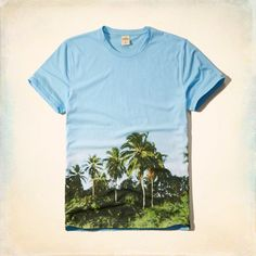 Photoreal Palm Tree Graphic Tee : Lightweight and comfortable with a crew neck and photoreal graphic.